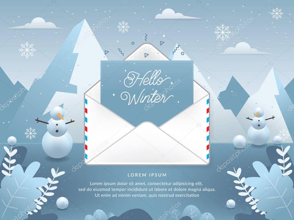 Mail envelope vector illustration. Electronic mail service illustration. Vector of Winter season with email. Hello winter, Winter season - vector illustration