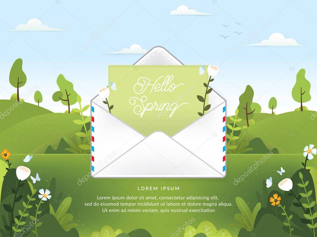Mail envelope vector illustration. Electronic mail service illustration. Vector of Spring season with email. Hello spring, Spring season - vector illustration