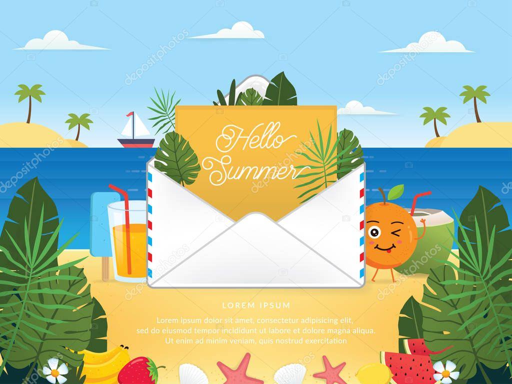 Mail envelope vector illustration. Electronic mail service illustration. Vector of Summer season with email. Hello summer, Summer season - vector illustration
