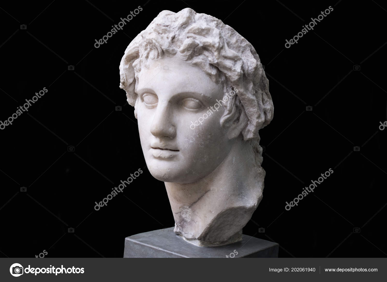 Ancient Marble Head Young Man Ancient Greek God Bust Black