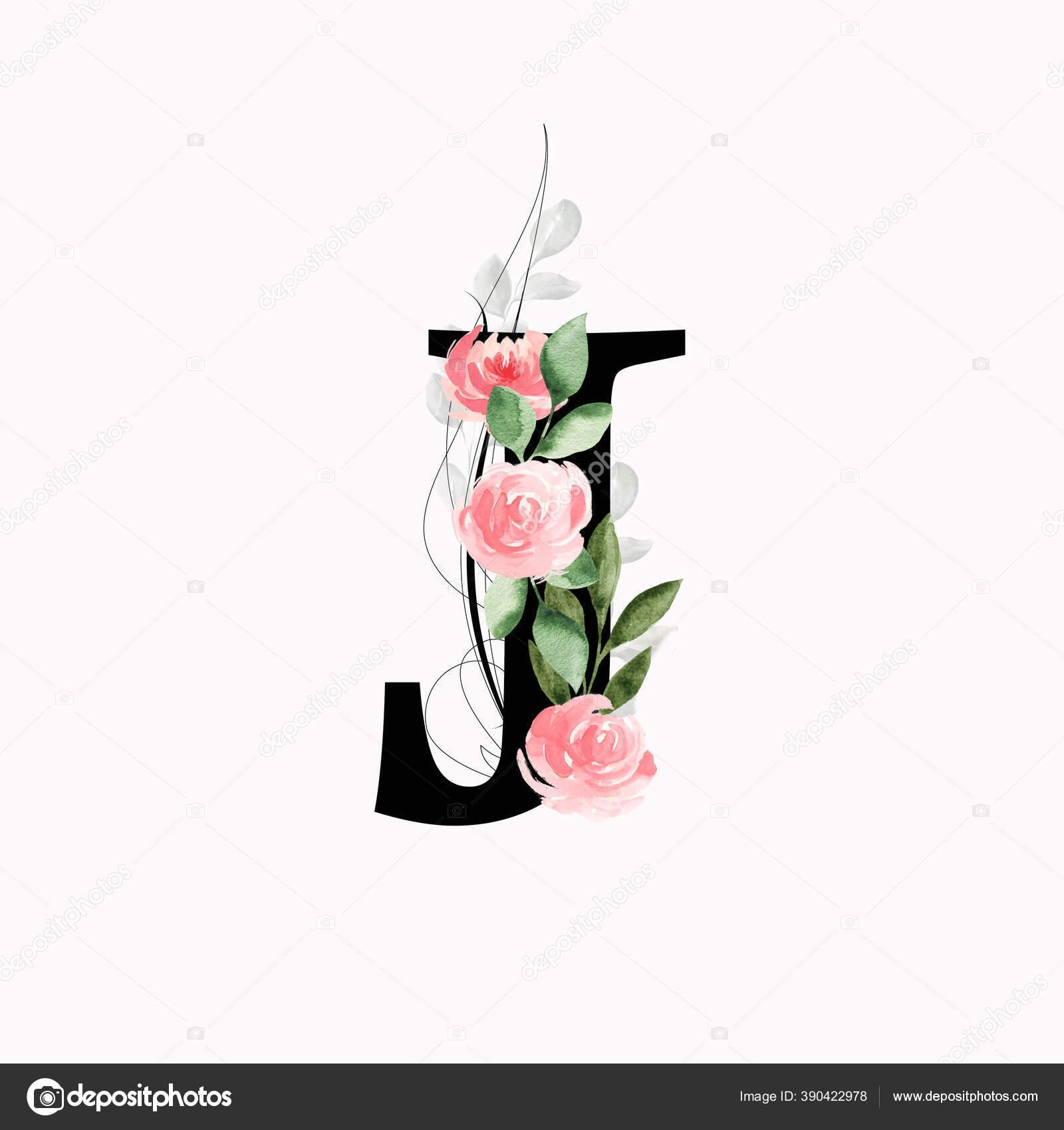 Monogram Bunga Huruf Dihiasi Dengan Mawar Dan Daun Merah Muda Stok Foto C Brita Seifert Googlemail Com 390422978