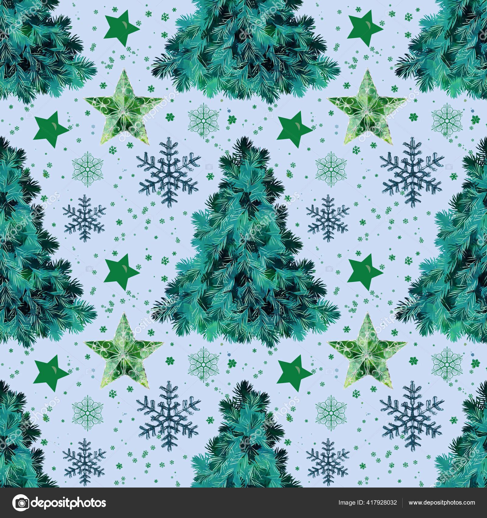 Christmas Seamless Pattern Christmas Tree Snowflakes Baby Blue Background New Stock Photo C Brita Seifert Googlemail Com 417928032