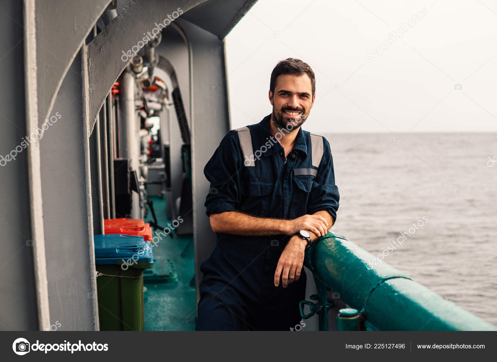 Marine Deck Officer or Chief mate on deck of vessel or ship — Stock