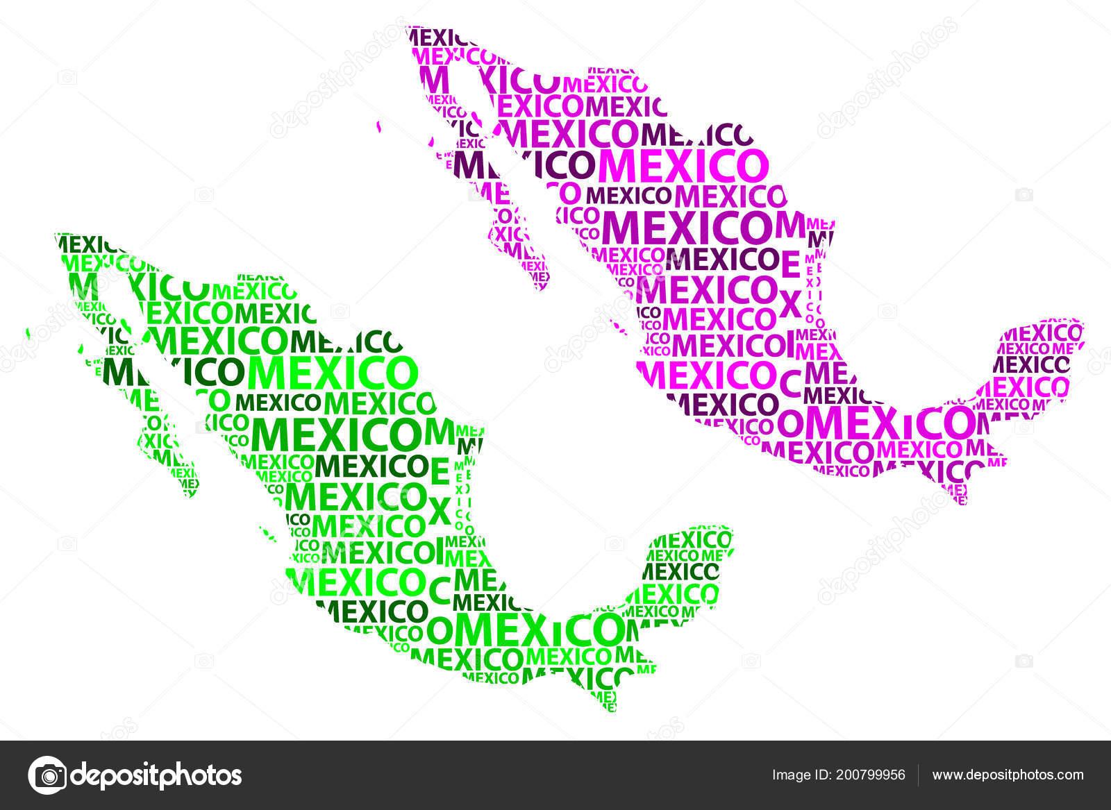 Mexiko Staaten Karte.Skizze Brief Text Karte Mexiko Mexiko Der Form Des