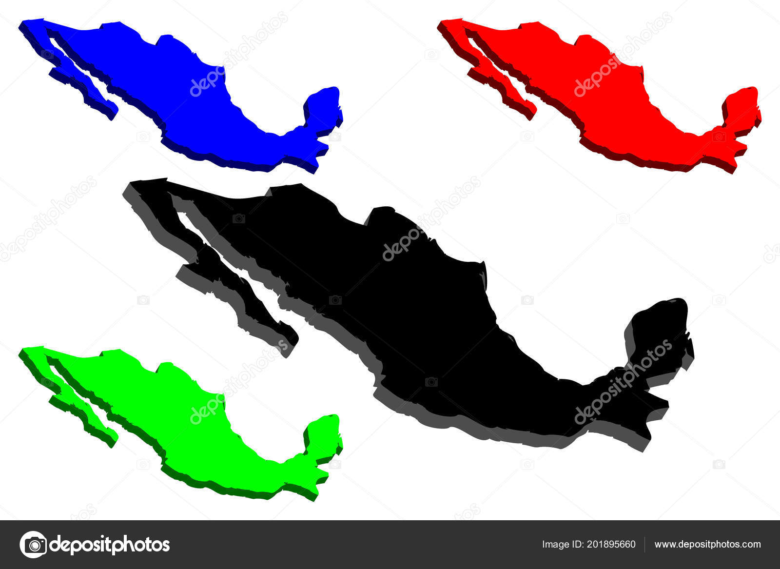 Map Mexico United Mexican States Black Blue Green Vector ...