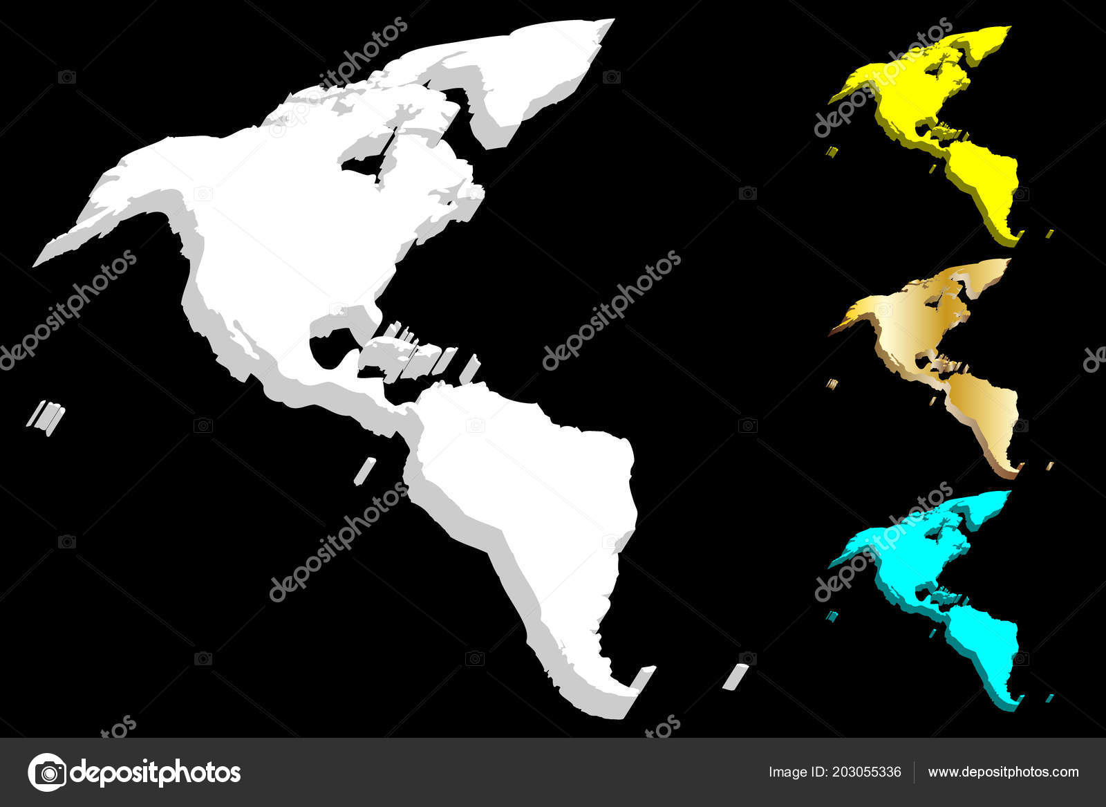 map south north america continent white gold blue yellow vector