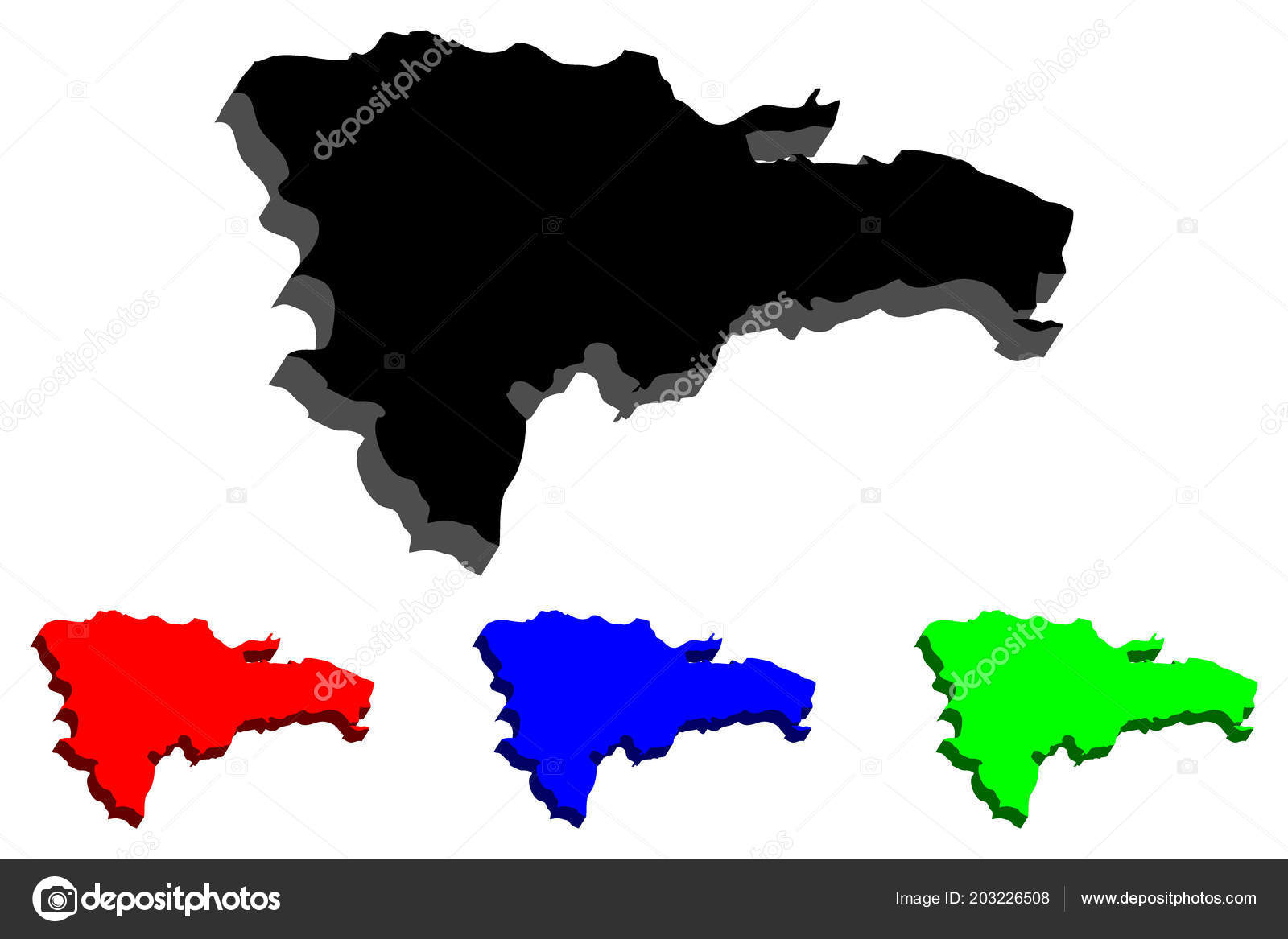 Map Dominican Republic Hispaniola Black Red Blue Green Vector