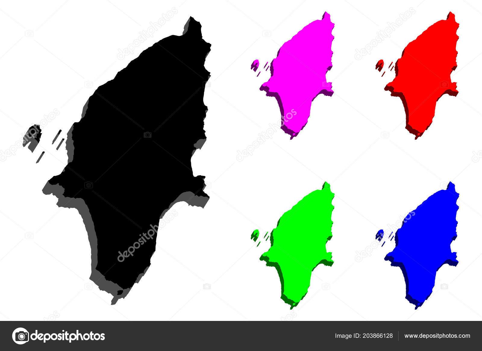 Rhodes Island Greece Map.Map Rhodes Island Greece Black Red Purple Blue Green Vector Stock