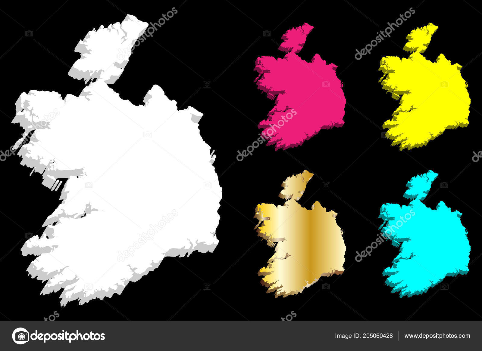 Map Of Ireland Vector.Map Ireland Republic Ireland White Yellow Purple Blue Gold Vector