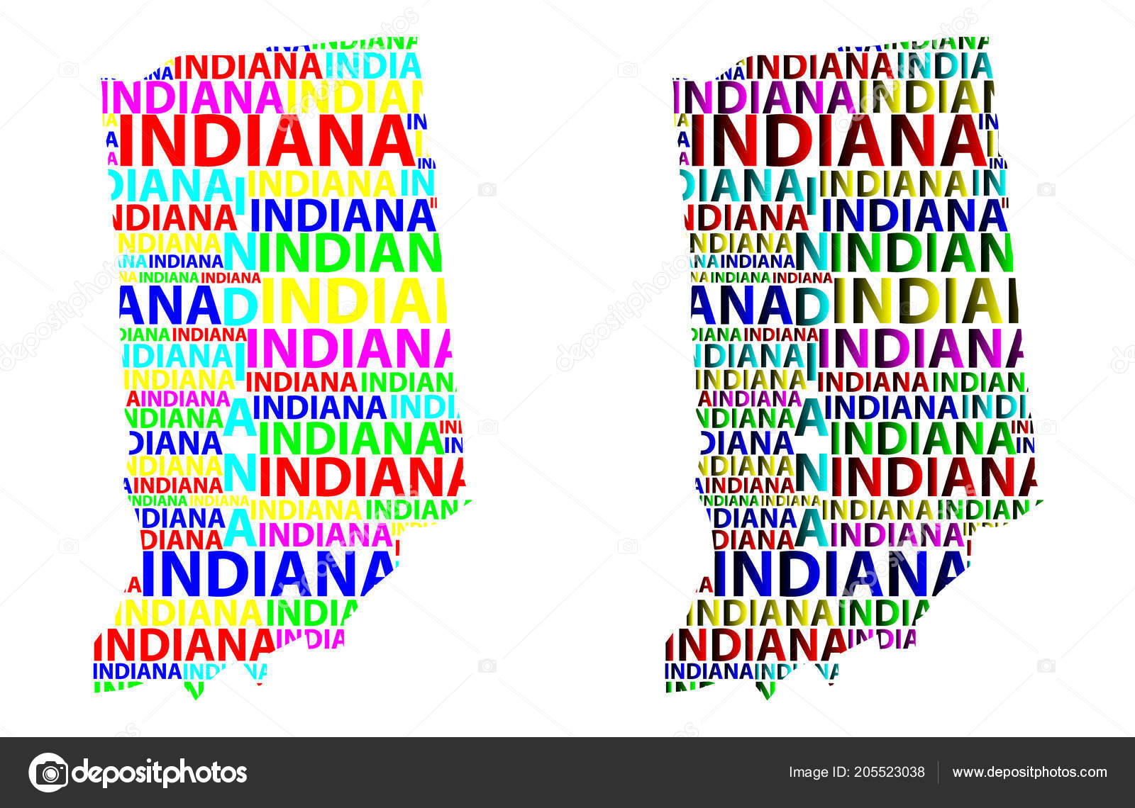 Sketch Indiana United States America Letter Text Map Indiana ...