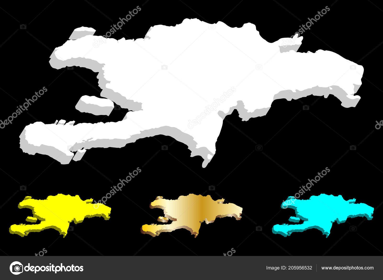 Map Hispaniola Dominican Republic Haiti White Yellow Blue Gold