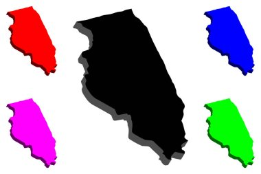 3D map of Illinois (United States of America) - black, red, purple, blue and green - vector illustration