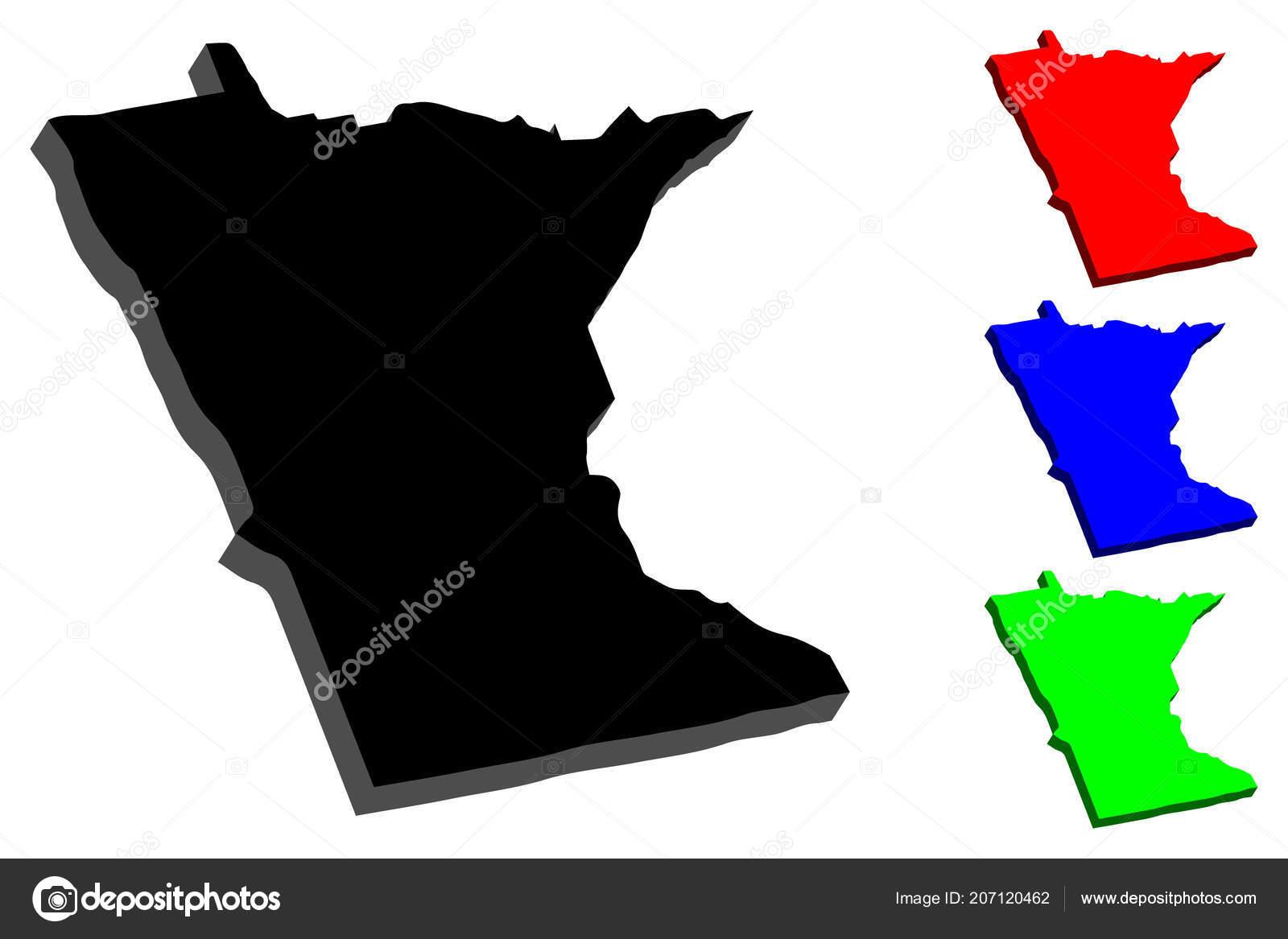 Map Minnesota United States America Land 000 Lakes Black Red — Stock ...