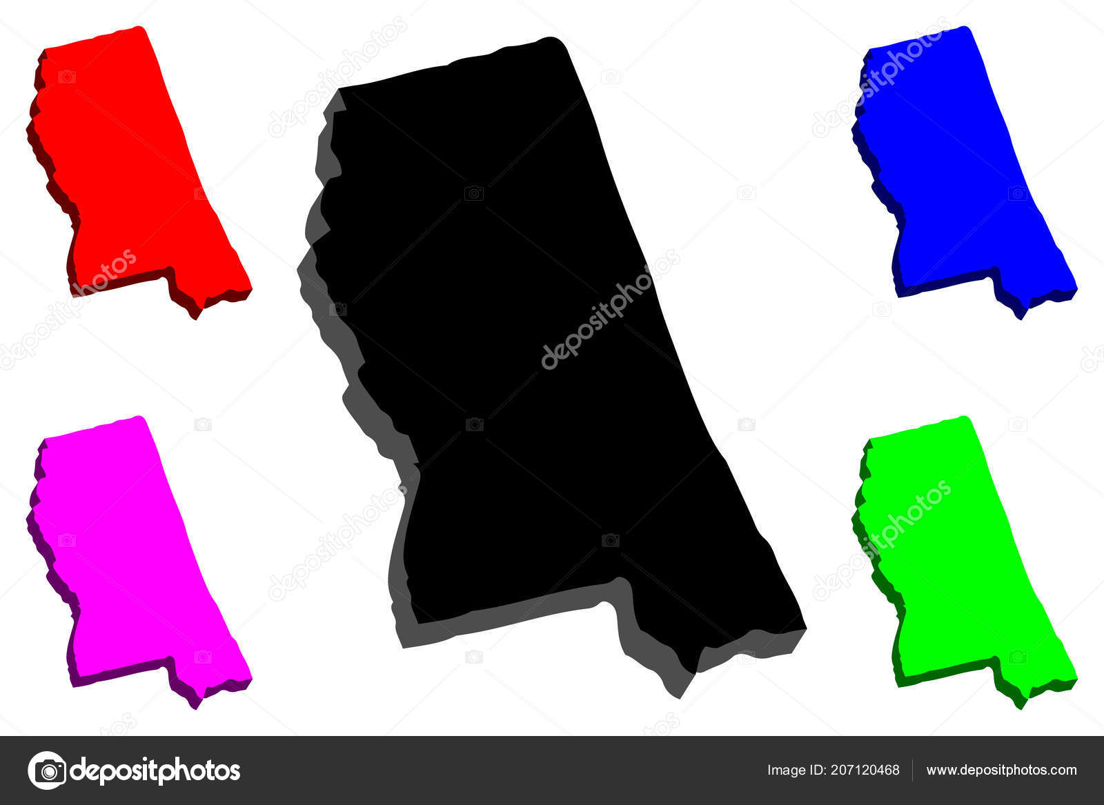 Purple America Map.Map Mississippi United States America Magnolia State Black Red