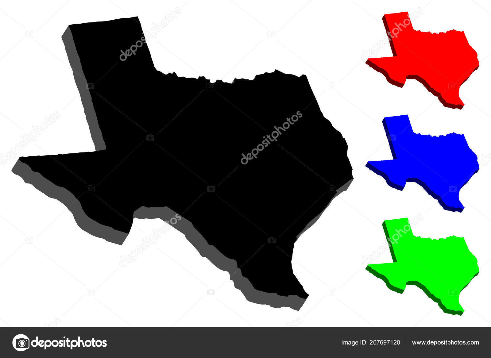 Map Texas United States America Lone Star State Black Red ...