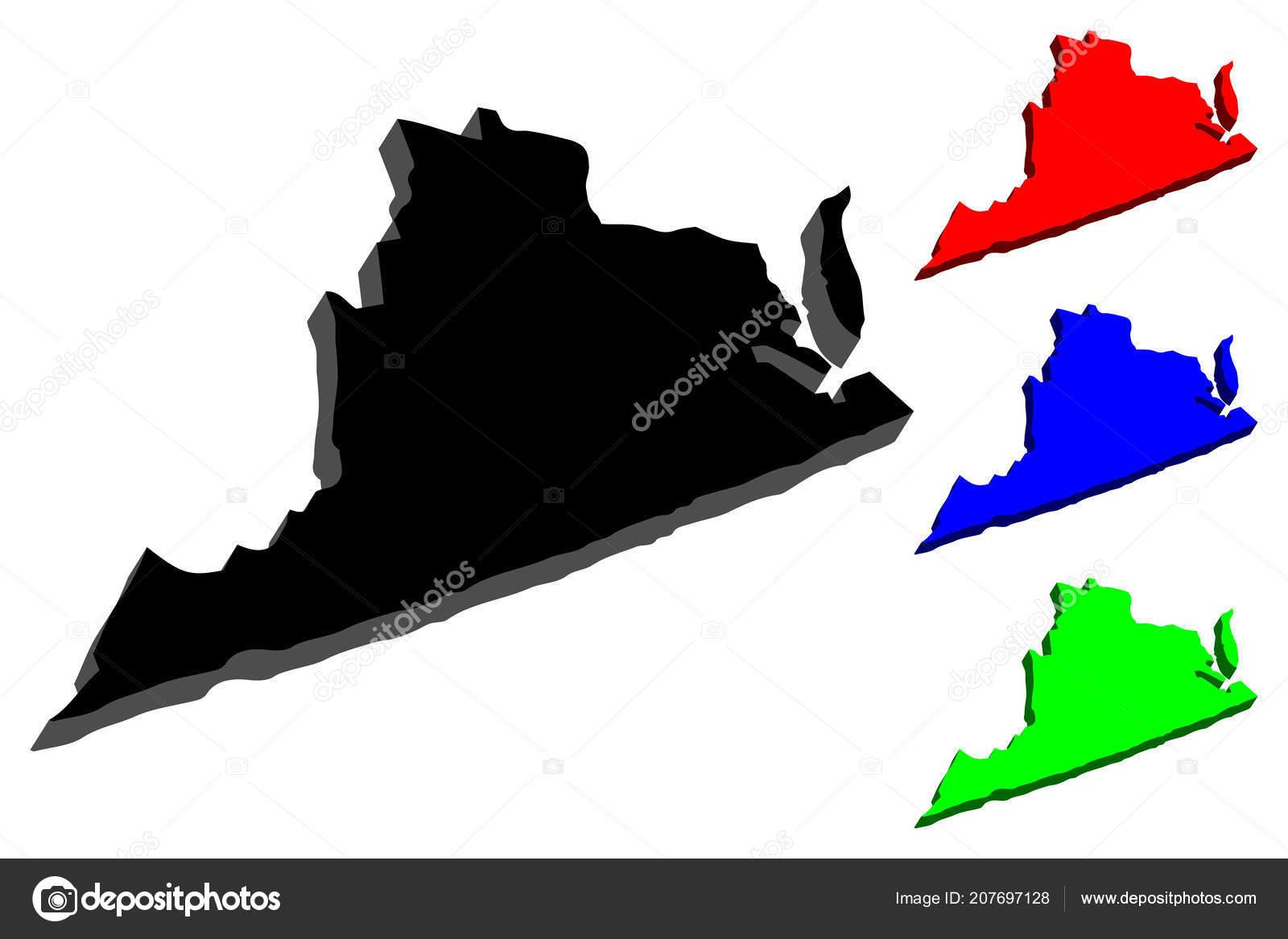 Virginia United States Map.Map Virginia United States America Commonwealth Virginia Black Red