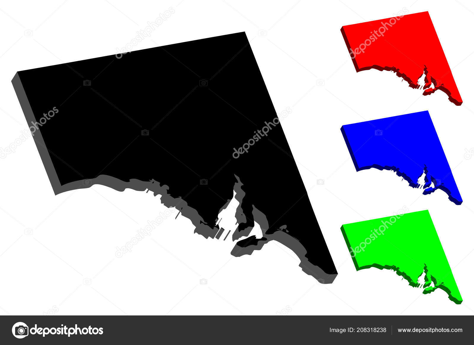 Australia Map Vector With States.Map South Australia Australian States Territories Black Red Blue