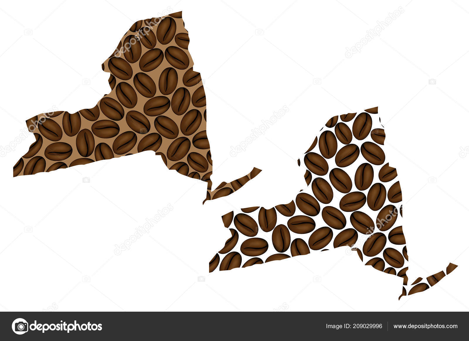 New York United States America Map Coffee Bean New York ...