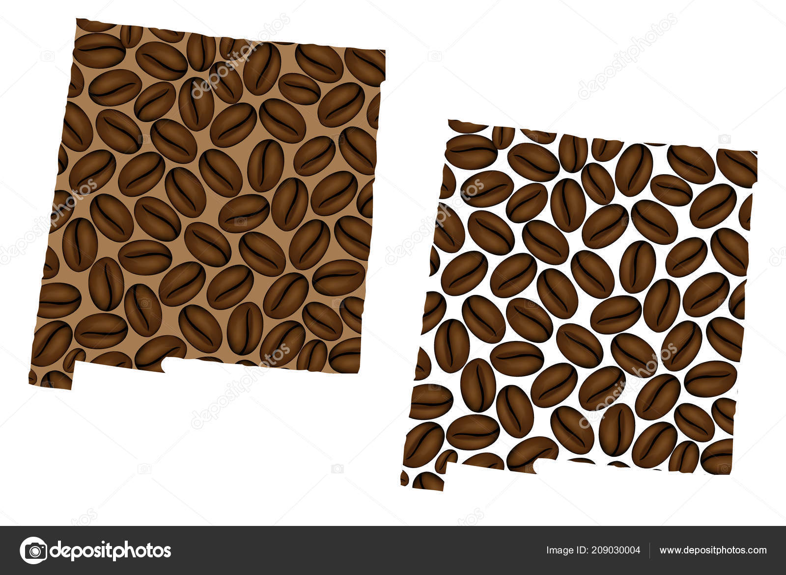 New Mexico United States America Map Coffee Bean New Mexico ...