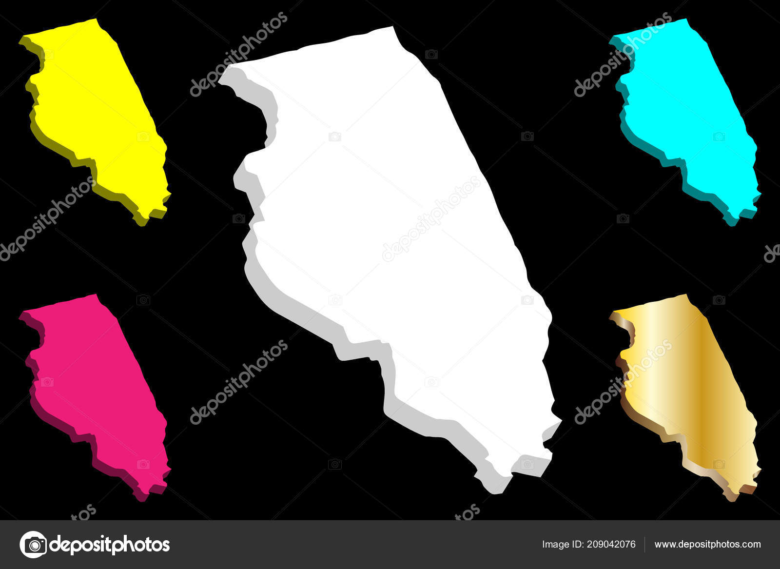 Purple America Map.Map Illinois United States America White Yellow Purple Blue Gold
