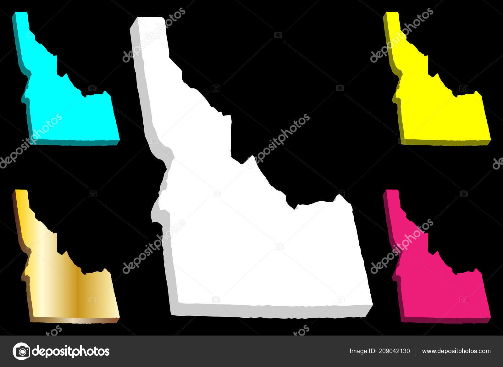 Purple America Map.Map Idaho United States America Gem State White Yellow Purple
