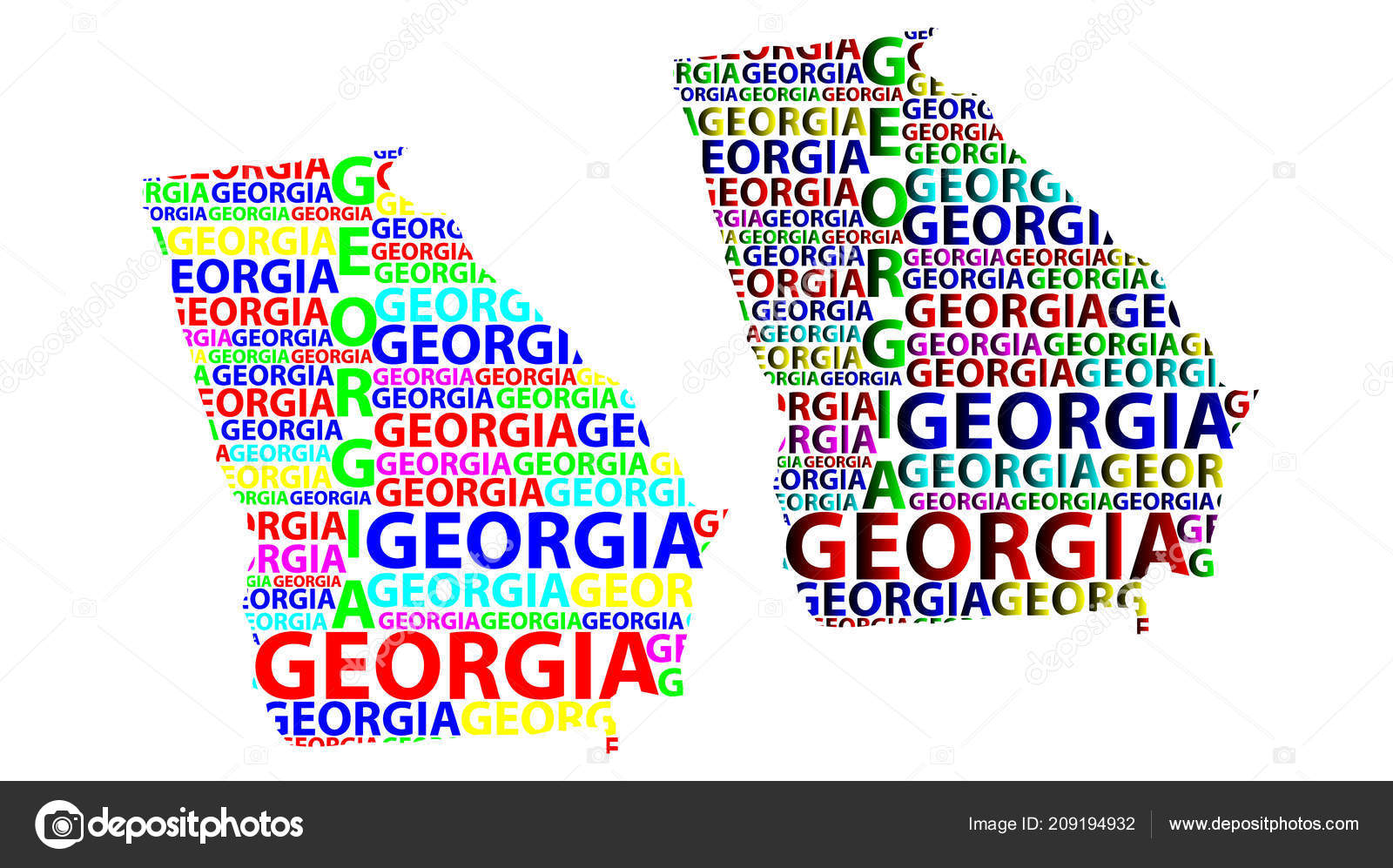 United State Of America Map.Sketch Georgia United States America Letter Text Map Georgia Map