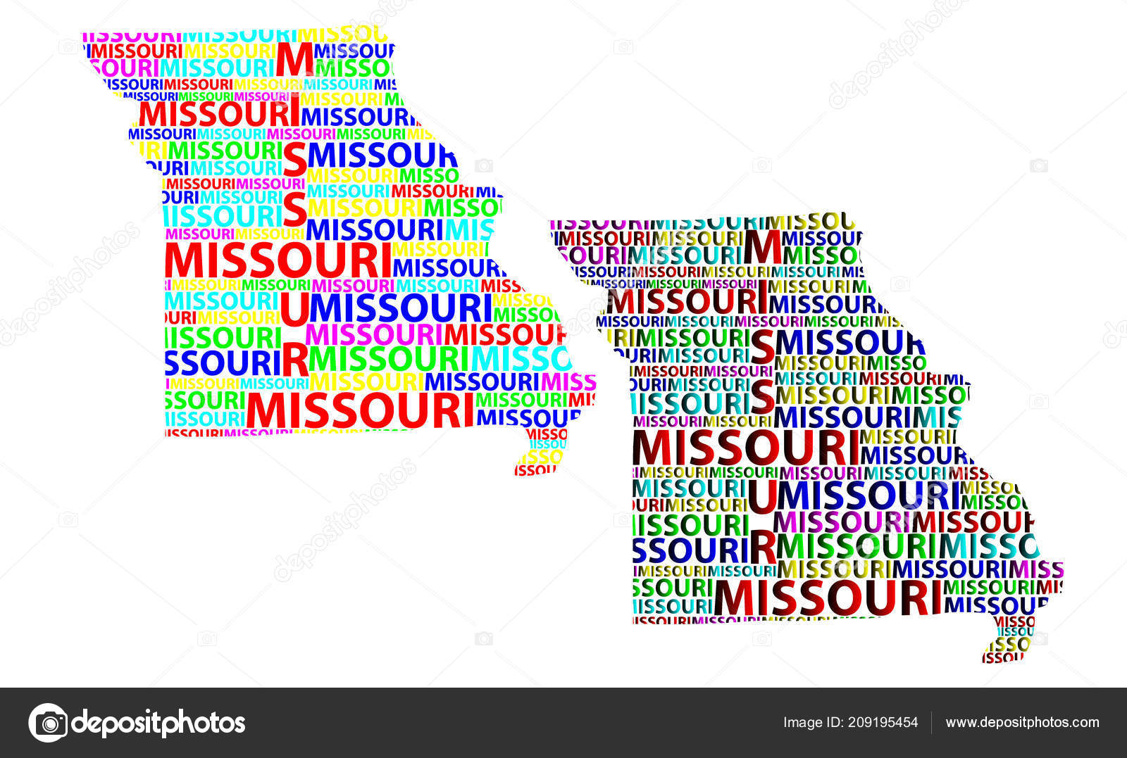 Sketch Missouri United States America Letter Text Map Missouri Map