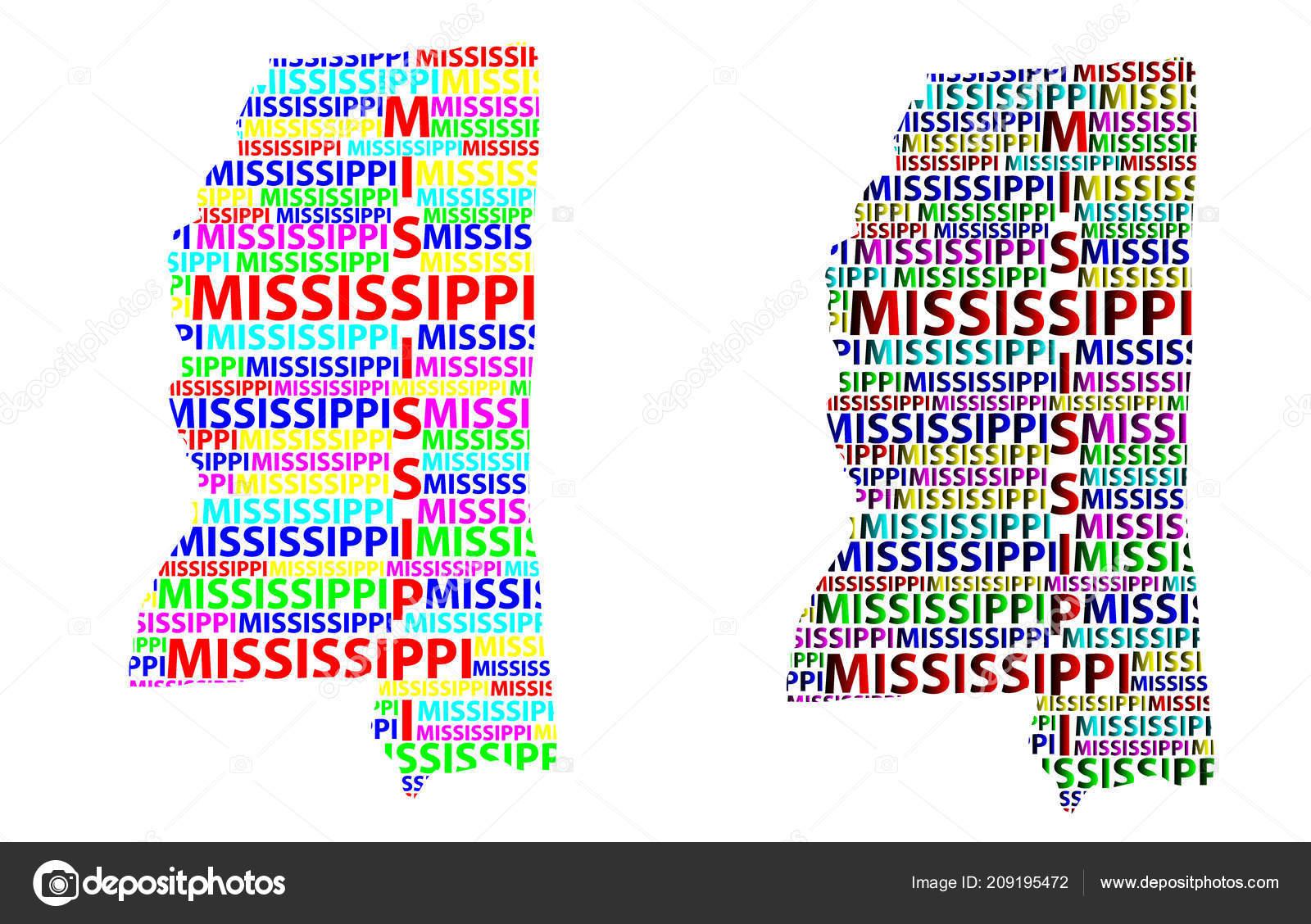 United States Map Mississippi.Sketch Mississippi United States America Letter Text Map Mississippi