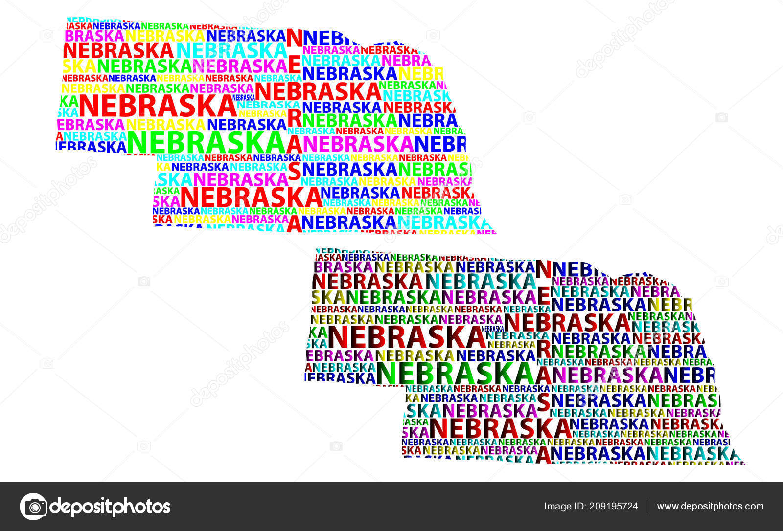 Sketch Nebraska United States America Cornhusker State Letter Text - Us-map-nebraska-state
