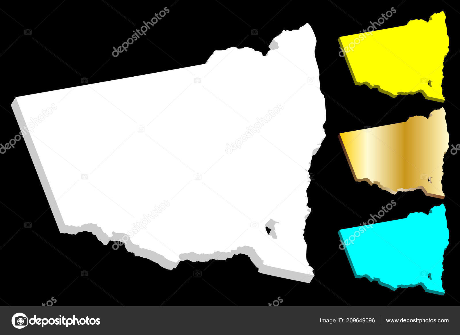 3d Map Of South Australia.Map New South Wales Australian States Territories Nsw White Yellow