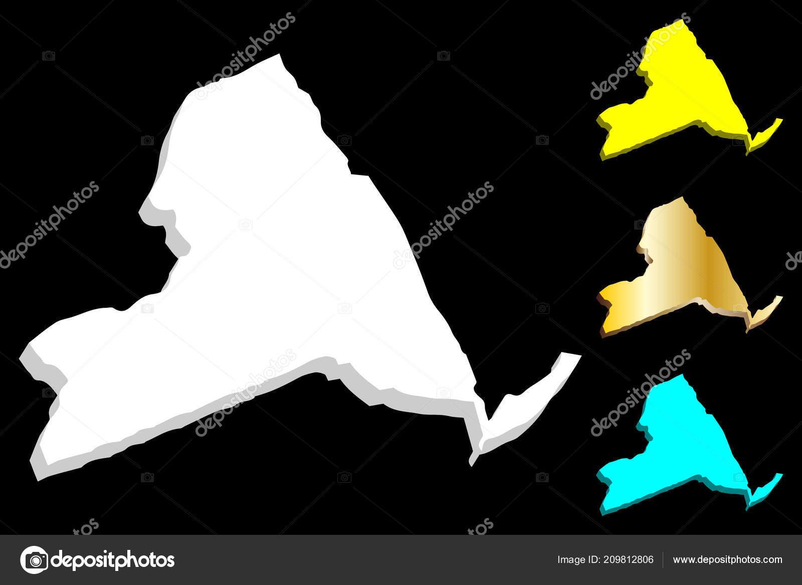 Map New York United States America Empire State White Yellow ...