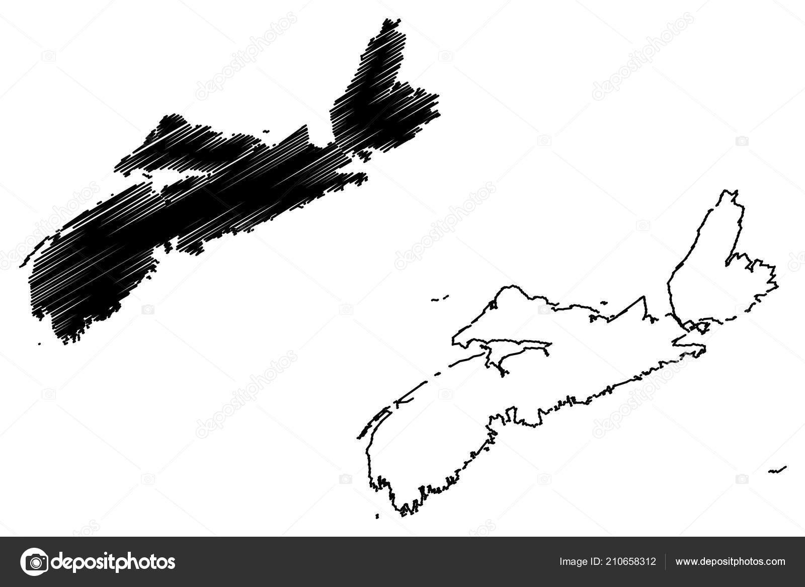 Provinces And Territories Of Canada Map.Nova Scotia Provinces Territories Canada Map Vector Illustration