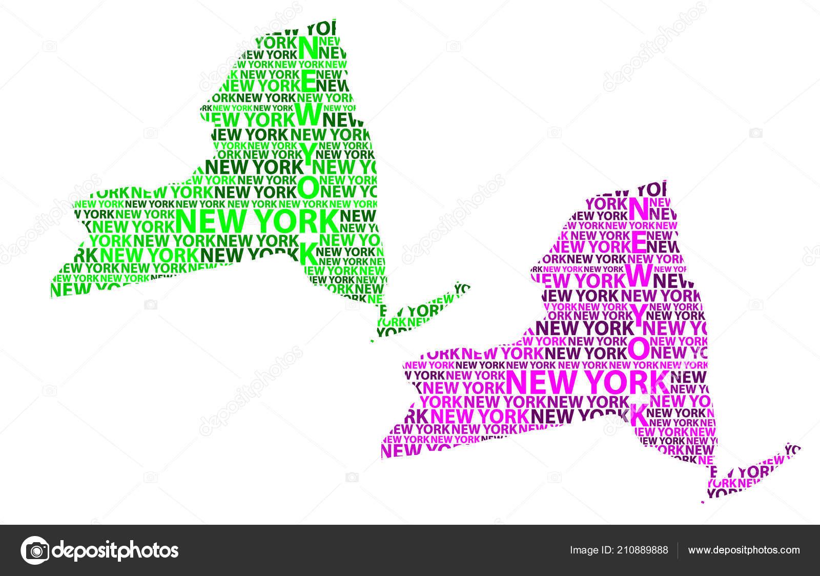 Amerika Karte New York.New York Vereinigte Staaten Von Amerika Brief Text Kartenskizze New