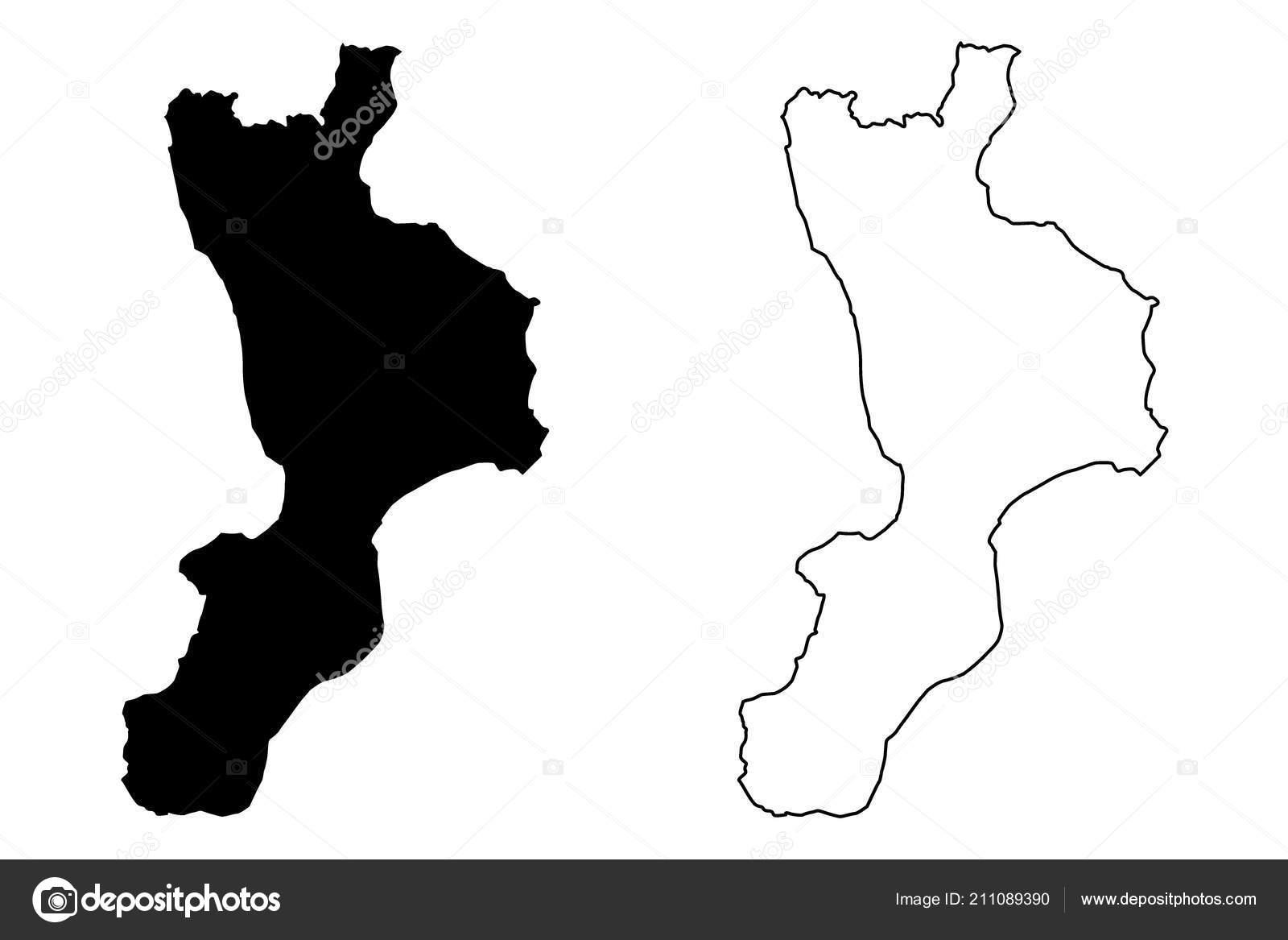 Cartina Calabria Muta.Illustrazione Vettoriale Calabria Regione Autonoma Italia