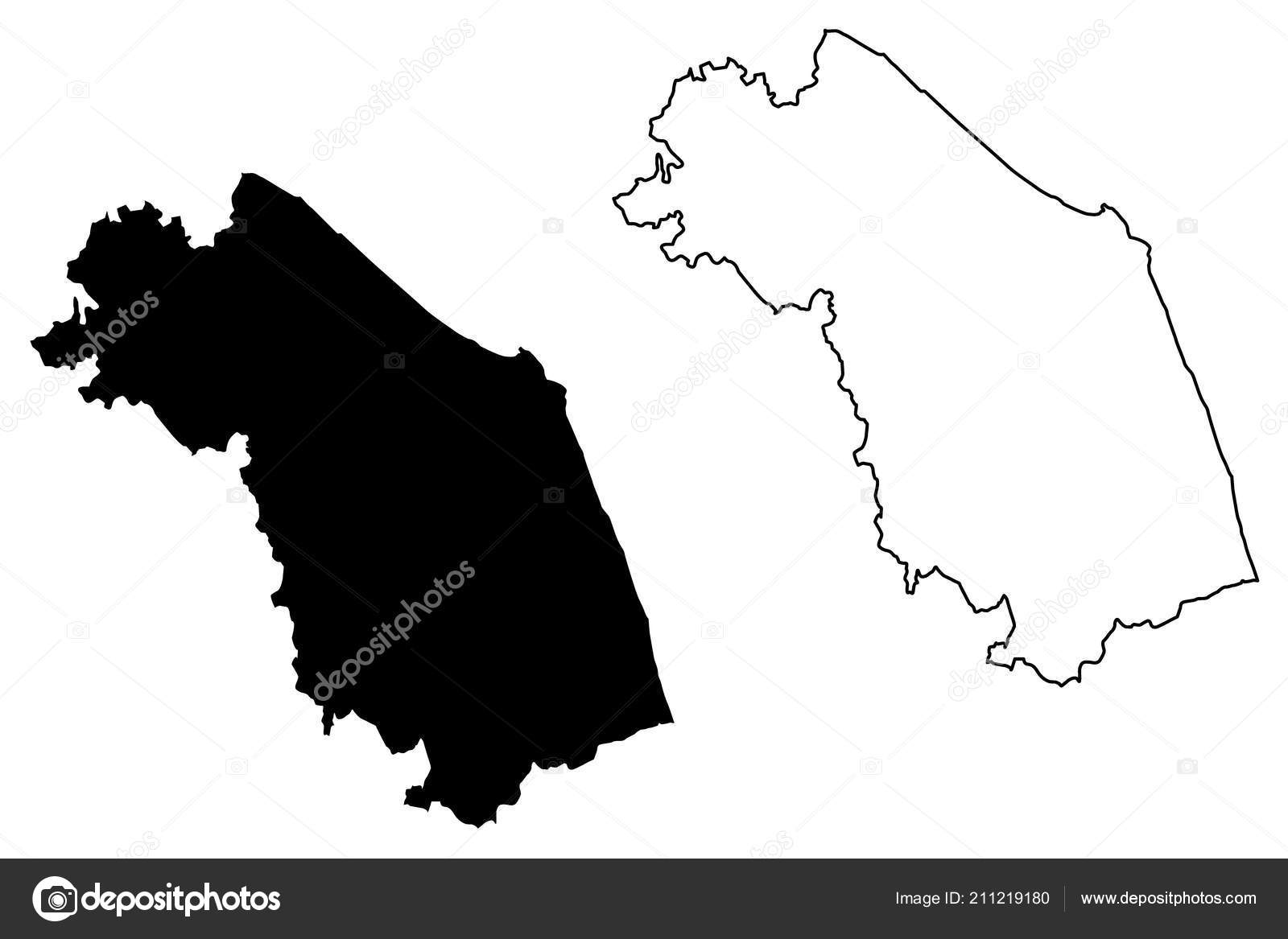 Marche Autonomous Region Italy Map Vector Illustration Scribble
