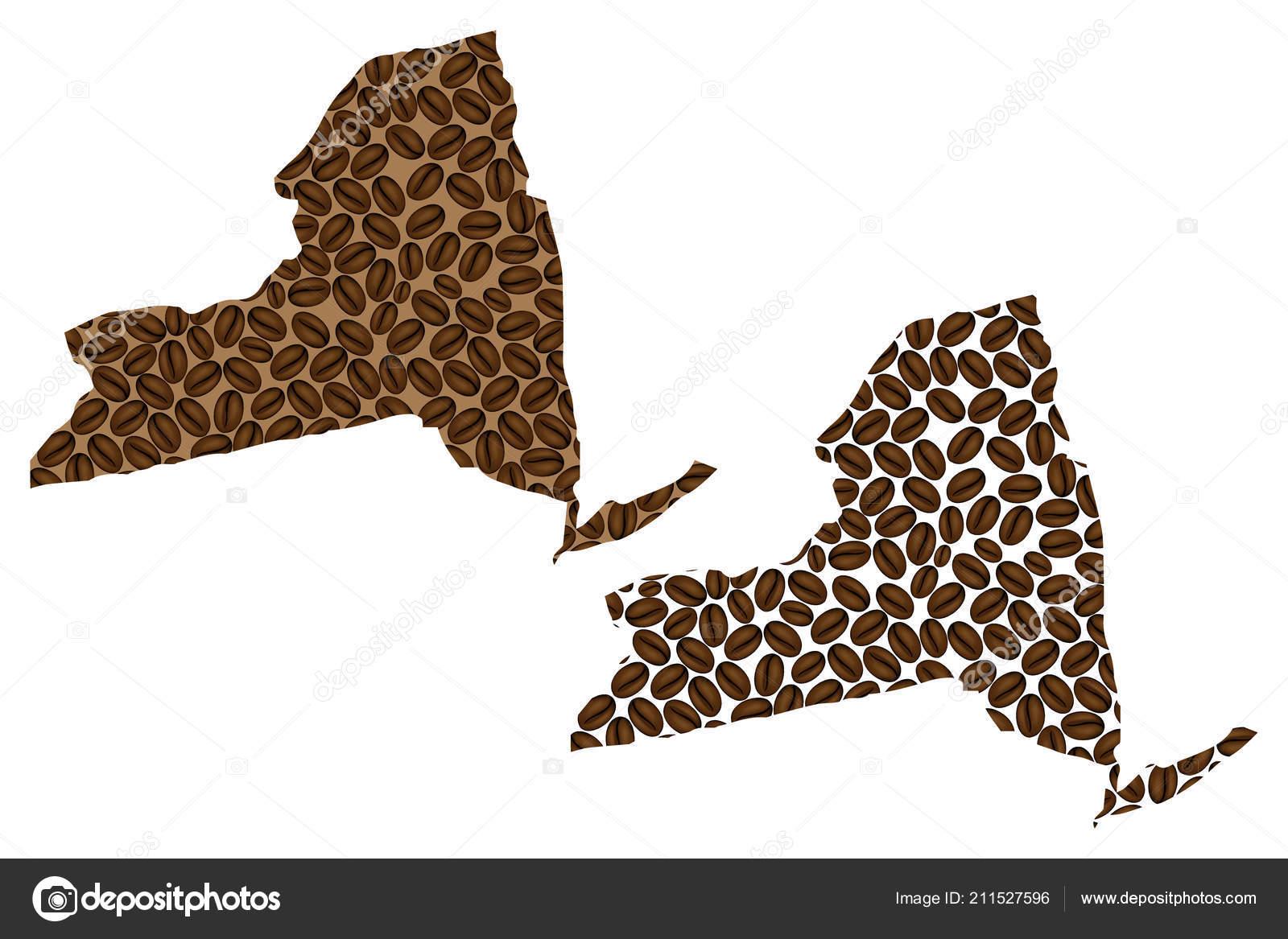 Amerika Karte New York.New York Vereinigte Staaten Von Amerika Karte Von Kaffeebohnen New