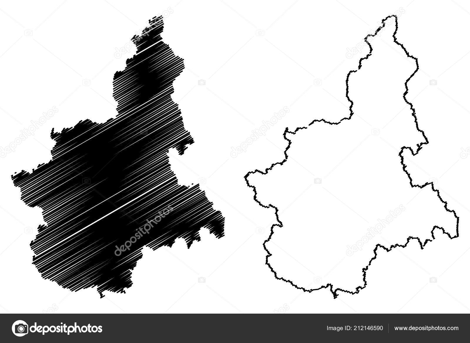 Piedmont Autonomous Region Italy Map Vector Illustration