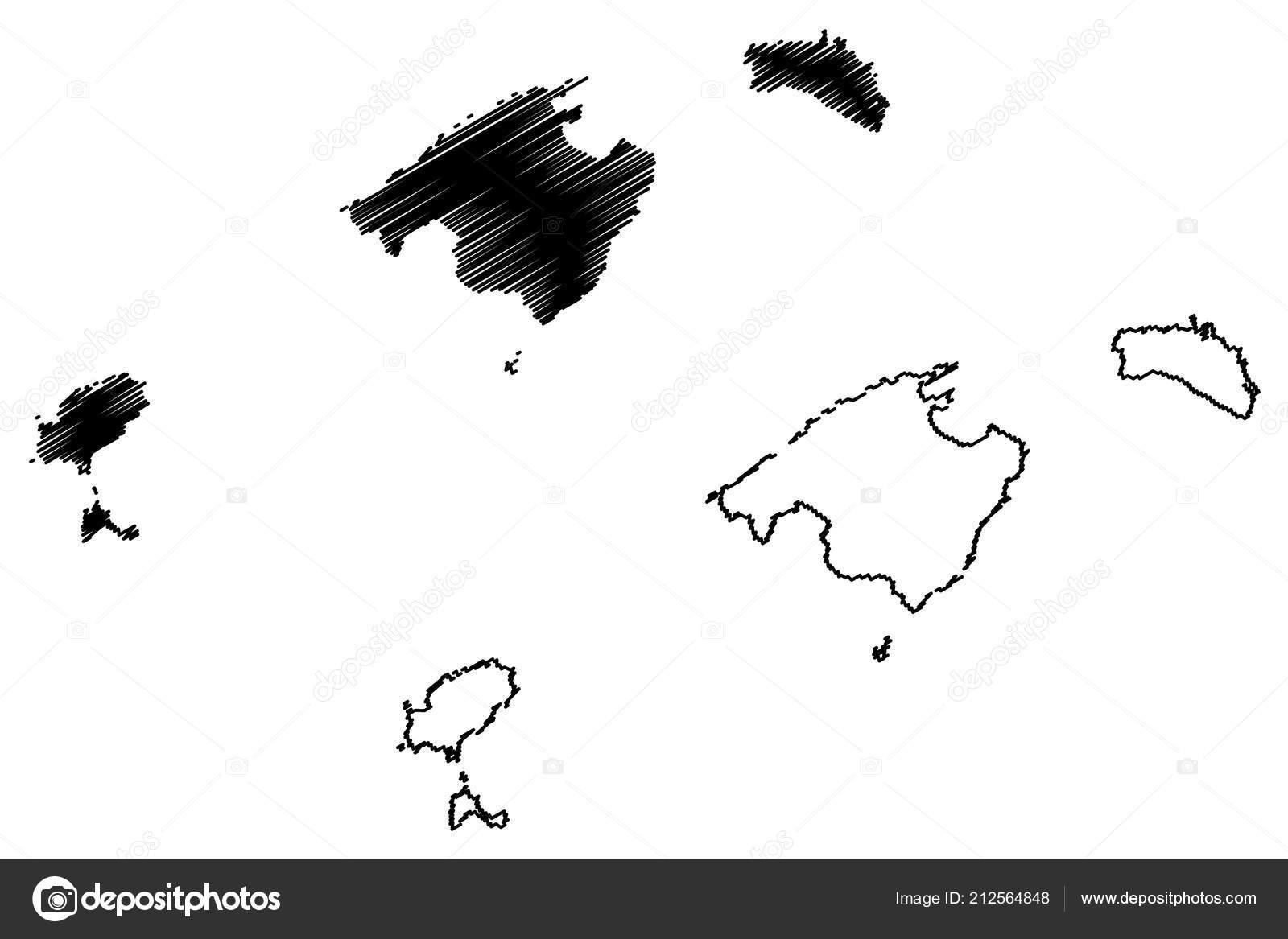 Autonome Regionen Spanien Karte.Balearen Konigreich Von Spanien Autonome Region Karte Vektor