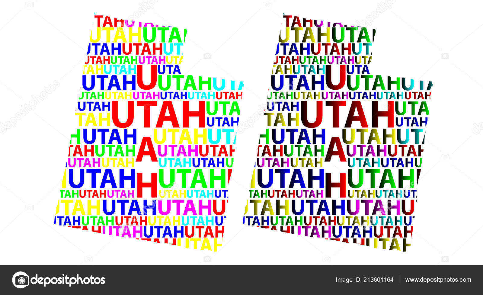 Sketch Utah United States America Letter Text Map Utah Map ...