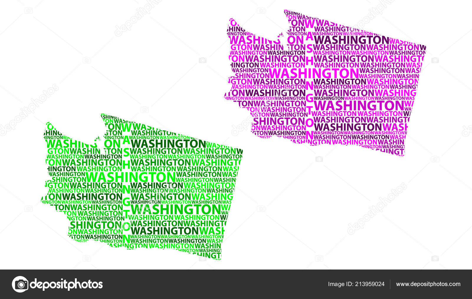 Sketch Washington State United States America Letter Text Map