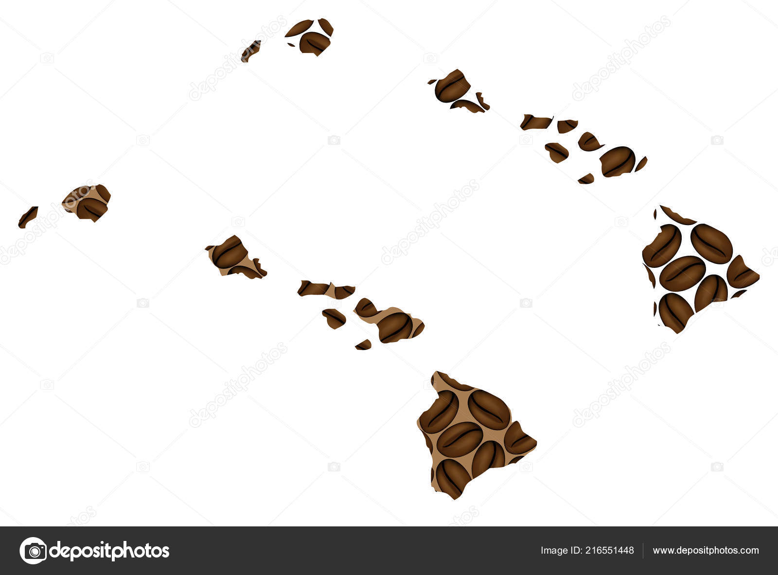Hawaii United States America Map Coffee Bean State Hawaii Map ...