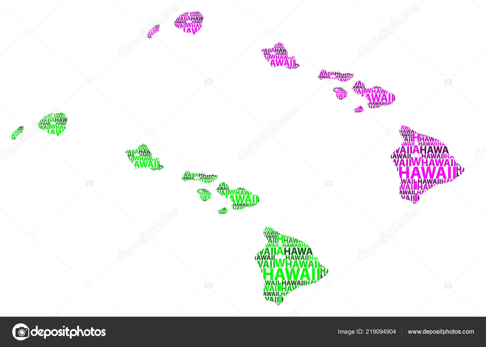 Sketch Hawaii United States America Letter Text Map Hawaii Map