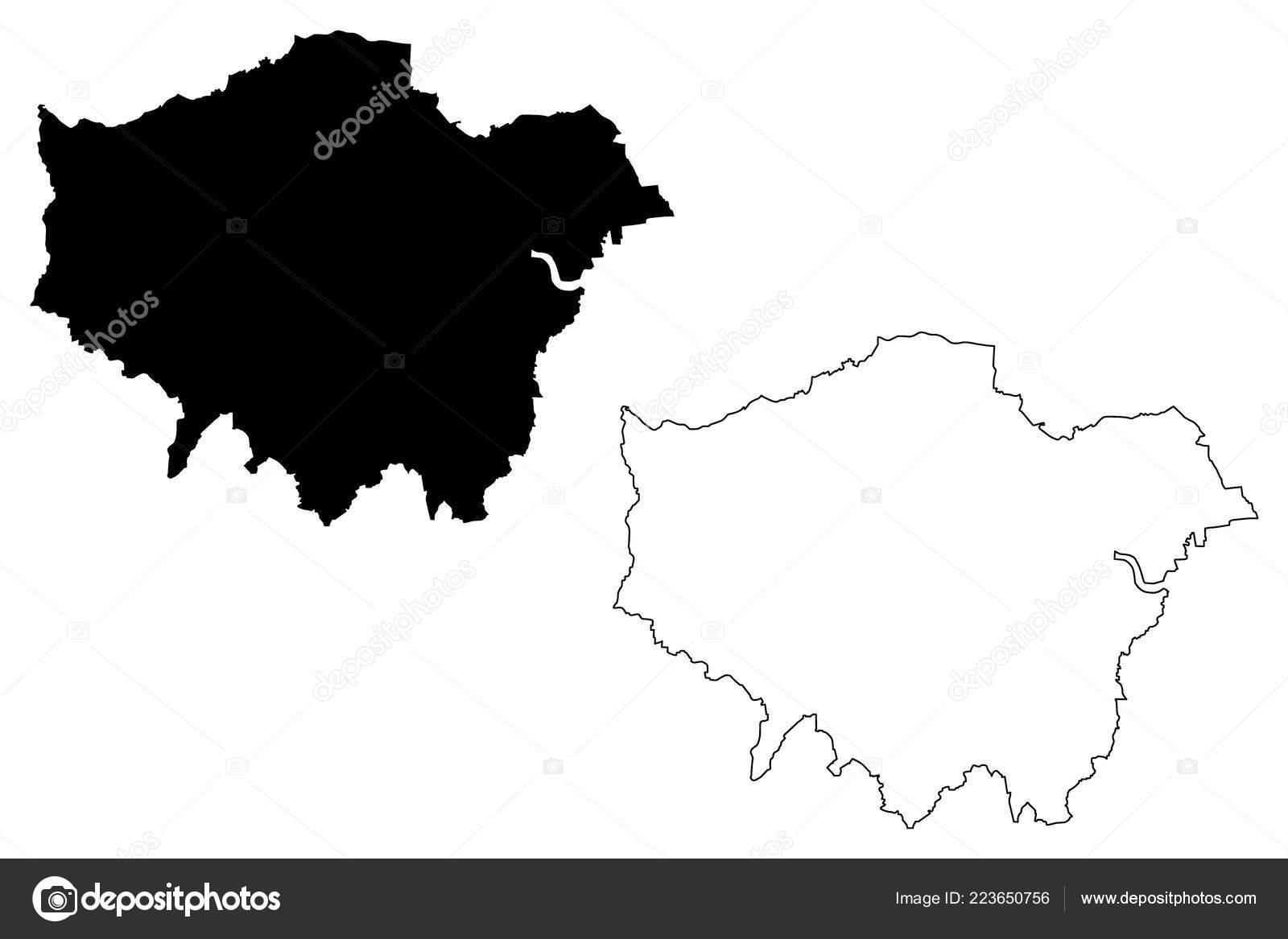 Greater London United Kingdom England Map Vector ...
