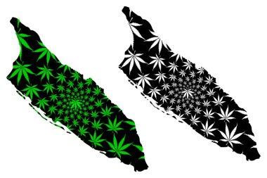 Aruba - map is designed cannabis leaf