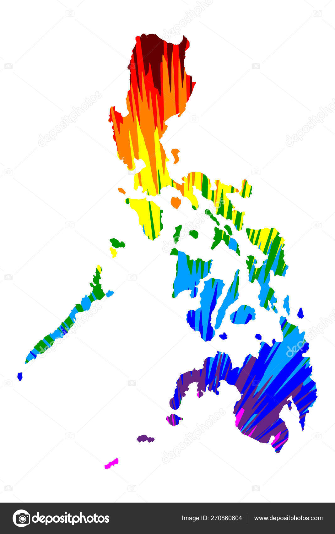 Philippines Map Is Designed Rainbow Abstract Colorful Pattern