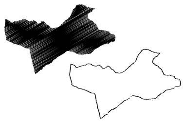 Wadi al Shatii District (Districts of Libya, State of Libya, Fezzan) map vector illustration, scribble sketch Wadi al Shatii map