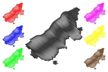 Ruse Province (Republic of Bulgaria, Provinces of Bulgaria) map vector illustration, scribble sketch Rusenska Oblast map
