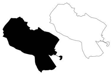 Mashhad City (Islamic Republic of Iran, Persia, Razavi Khorasan Province) map vector illustration, scribble sketch City of Mashad or Meshad map