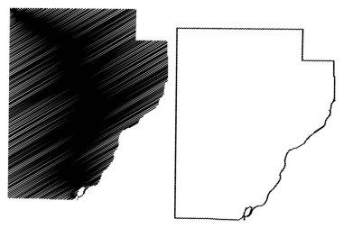 Fulton County, Illinois (U.S. county, United States of America, USA, U.S., US) map vector illustration, scribble sketch Fulton map