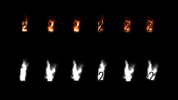 Burning font with alpha channel. Four difference type of fire. Letters and digits. Two